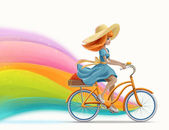 Drawing beautiful girl riding a bike in summer hat with rainbow on white background — Stock Photo