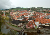 Aerial view over the old Town of Cesky Krumlov, Czech Republic — Foto Stock