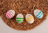 Funny cute hipster eggs for Easter — Foto Stock