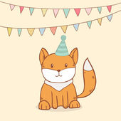Cute birthday greeting card with party flags and little fox — Stock Vector