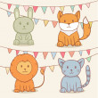 Vector set of cute animals with party flags. Rabbit, fox, lion and cat — Stock Vector #45820105