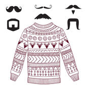 Vector hipster set with cozy sweater and mustaches — Stock Vector