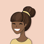 Vector portrait of a beautiful smiling young African woman — Stock Vector