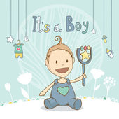Baby shower it's a boy, baby with toy. Vector illustration card — Vector de stock