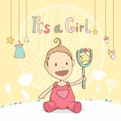 Baby shower it's a girl, baby with toy. Vector illustration card — Vector de stock