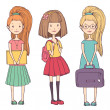 Cute cartoon girls go to school. Vector set — Stock Vector #47748205