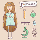 Cute girl with science items. Vector set — Stock Vector