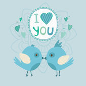 Vector cute birds in love with I love you art on abstract background — Stock Vector