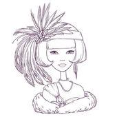 Romántico estilo art deco mujer con sombrero de plumas. ilustración vectorial — Vector de stock