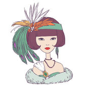 Romantic art deco woman with feather hat. Vector illustration — Stock Vector