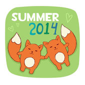 Cute foxes in love. Summer illustration — Stok Vektör