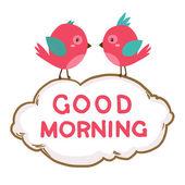 Sevimli pembe kuşlar günaydın demek. vektör çizim — Stok Vektör