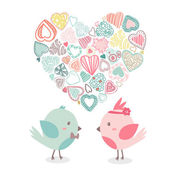 Lovely birds in love together with shape of heart. Vector illustration — Stockvektor
