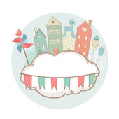 Cute greeting card with houses on the cloud. Vector illustration — Stock Vector