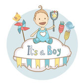 Baby shower it's a boy, baby with toy. Vector illustration card — Stock Vector