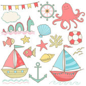 Summer sea cute icons. Vector clip art — Vecteur