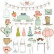 Set of cute party elements. Vector illustration — Stock Vector #48796109