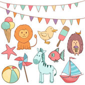 Cute baby party set with animals and toys. Vector illustration — Stock Vector