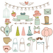 Set of cute party elements. Vector illustration — Stock Vector