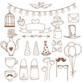 Set of sketch cute party elements. Vector illustration — Stock Vector