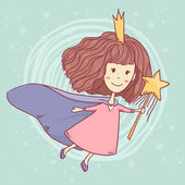 Vector cute little fairy with wand on abstract blue background — Stock Vector