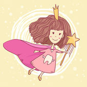 Vector cute little tooth fairy with wand on abstract yellow background — Stok Vektör