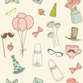 Vector vintage party pattern in pastel colors — Wektor stockowy