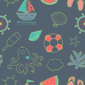 夏天海可爱的格局与海洋动物和海洋项目无缝 — 图库矢量图片