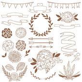 Colección floral de fiesta con elementos de diseño. conjunto de vectores — Vector de stock