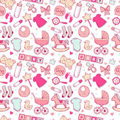 Bright baby girl seamless pattern with cute newborn elements — Stock Vector