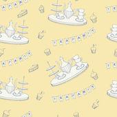 Fiesta del té de patrones sin fisuras en colores pastel — Vector de stock