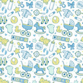 Seamless baby boy pattern with cute newborn elements — Stock Vector