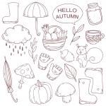 Vector set of autumn cute design elements — Stock Vector #49983841