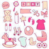 Newborn baby girl clip art with cute icons. Vector collection — Stock Vector
