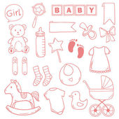 Newborn baby girl clip art with cute icons. Vector collection — Vettoriale Stock