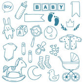 Newborn baby boy clip art with cute icons. Vector collection — Stock Vector