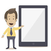 Businessman pointing on  mobile gadget. — Stock Vector