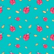 Pattern background with cute cartoon ladybugs and leaves — Stock Vector #50415501