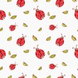 Pattern background with cute cartoon ladybugs and leaves — Stock Vector #50415765