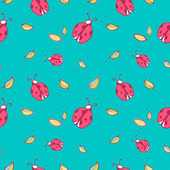 Pattern background with cute cartoon ladybugs and leaves — 图库矢量图片