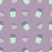 шаблон с вареньем и чашки на фиолетовый фон — Cтоковый вектор