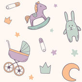 Baby pattern with rabbit, toy horse, moon, baby stroller — Stock Vector