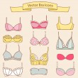 Set of different female fashion bra icons. Vector collection — Stock Vector #50466825