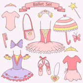 Vector cute ballet school set for little girl princess,each element on separate layer — Stock Vector