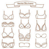 Set of different female fashion bra icons. Vector collection — Stock Vector