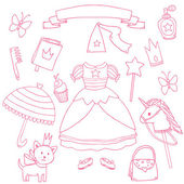 My little princess set. Cute vector clip art — Stock Vector