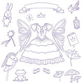 My little fairy princess set. Cute vector clip art — 图库矢量图片