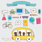 Back to school info graphics icons — Stock Vector
