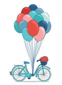 Bike with party balloons, basket with flowers — Stock Vector