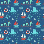 Sea creatures, ships and octopus — Stock Vector